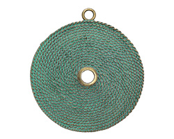 Zola Elements Patina Green Brass Roped Medallion Pendant 63x70mm
