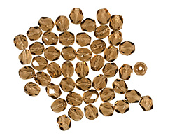 Czech Fire Polished Glass Smoky Topaz Round 4mm
