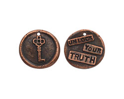 "The Lipstick Ranch Antique Copper (plated) Pewter ""Unlock Your Truth"" Key Wax Seal Charm 20mm"