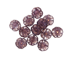 Czech Glass Bronzed Lilac/Crystal Hibiscus Coin 7mm