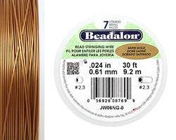 "Beadalon Satin Gold .024"" 7 Strand Wire 30ft."