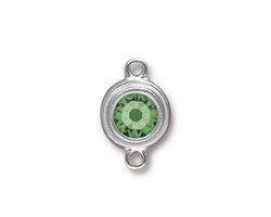 TierraCast Rhodium (plated) Stepped Bezel Link w/ Peridot Crystal 12x17mm