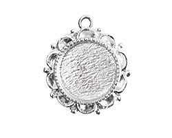 Nunn Design Sterling Silver (plated) Mini Ornate Circle Bezel Pendant 19x22mm