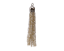 Black Diamond Crystal Tassel w/ Gunmetal Cap 9x68mm