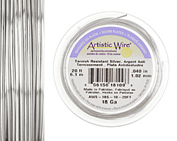 Artistic Wire Tarnish Resistant Silver 18 gauge, 20 feet