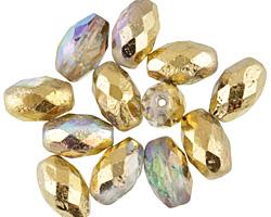 Czech Glass Light Sapphire AB w/ Gold Faceted Rice 12x8mm