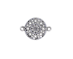 Antique Silver Finish Dalhia Openwork Focal Link 24x18mm