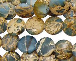 Blue Impression Jasper Puff Coin 12mm