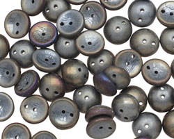 Czech Glass Matte Iris Purple 2-Hole Piggy Bead 8mm