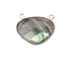 Labradorite Faceted Pendant Link in Sterling Silver 21-23x17mm