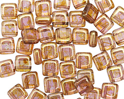 CzechMates Glass Luster Rose Gold Topaz 2-Hole Tile 6mm