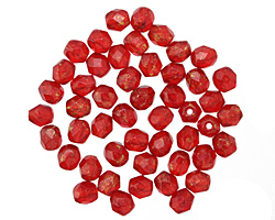 Czech Fire Polished Glass Siam Ruby Marbled Gold Round 4mm