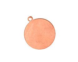 Copper Circle Blank Pendant 19x22mm