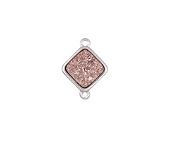 Metallic Bronze Crystal Druzy Diamond Link in Silver Finish Bezel 16x12mm