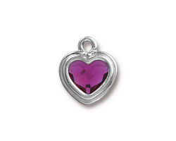 TierraCast Rhodium (plated) Stepped Heart Charm w/ Fuchsia Crystal 15x17mm