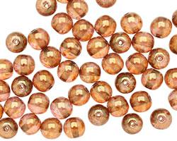 Czech Glass Luster Rose/Gold Topaz Round 6mm