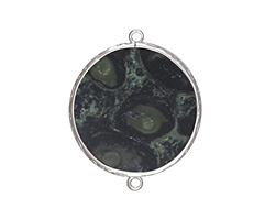 Kambaba Jasper Coin Thin Slice w/ Silver Finish Bezel Frame Focal Link 30mm