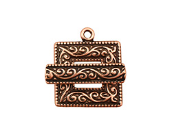 Antique Copper (plated) Scroll Square Toggle Clasp 22x18mm, 21mm bar