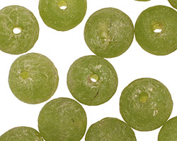 African Recycled Glass (olive) Irregular Round 13-14mm