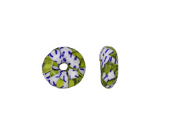 African Recycled Seed Bead Green, Blue & White Donut 4-6x13-15mm