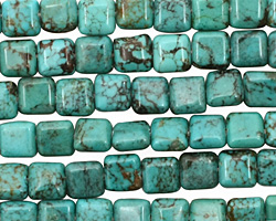 Chinese Turquoise Puff Square 6mm
