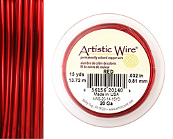 Artistic Wire Red 20 gauge, 15 yards