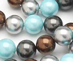 Mint Chocolate Shell Pearl Mix Round 14mm
