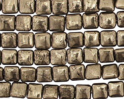 Golden Pyrite (silver tone) Puff Square 6mm