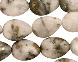 White Pyrite Quartz Flat Teardrop 18x13mm