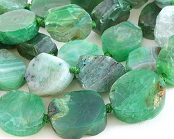 Apple Green Agate Nugget Slice 20-26mm