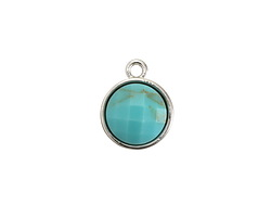 Turquoise Magnesite Faceted Coin Pendant in Silver Finish Bezel 12x15mm