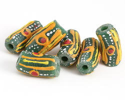 African Hand-Painted in Red/Orange/Saffron/White Circles & Stripes on Green Powder Glass (Krobo) Bead 18-21x10-11mm