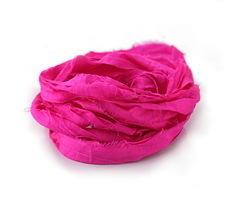 Neon Pink 100% Silk Sari Ribbon