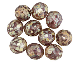 Czech Fire Polished Glass Lilac Picasso Round 10mm