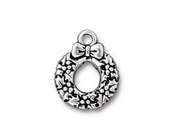 TierraCast Antique Silver (plated) Wreath Charm 16x20mm
