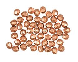 Czech Fire Polished Glass Matte Metallic Copper Round 4mm