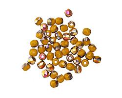 Czech Glass Mustard AB Fire Polished Round 3mm