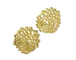 Satin Hamilton Gold (plated) Chrysanthemum Ear Post & Back 20mm