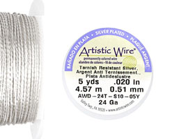 Twisted Artistic Wire Tarnish Resistant Silver 24 gauge, 5 yards