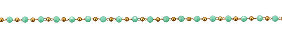 Turquoise Crystal & Brass Rounds Brass Bead Chain