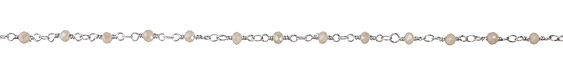 Zola Elements Pearl Crystal 4mm Imitation Rhodium (plated) Bead Chain