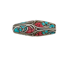 Tibetan White Brass Large Rice Bead w/ Coral & Turquoise Mosaic 36-38x14-15mm