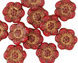 Czech Glass Bronzed Scarlet Wild Rose Coin 13mm