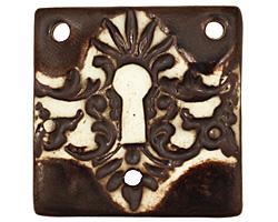 Earthenwood Studio Ceramic 3 Hole Victorian Keyhole Square Pendant 36mm