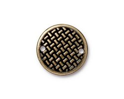 TierraCast Antique Brass (plated) Woven Disk Link 18mm