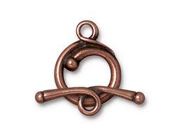 TierraCast Antique Copper (plated) Renaissance Toggle Clasp 21x17mm, 27mm Bar