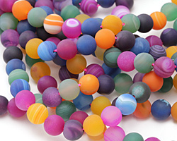 Jewel Tone Mix Line Agate (matte) Round 10-10.5mm