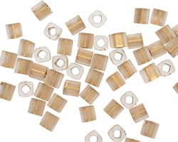 TOHO Frosted Crystal (with Gold Lining) Cube 4mm Seed Bead