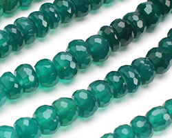 Green Onyx (variegated) Faceted Rondelle 6-8mm
