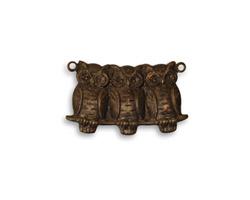 Vintaj Natural Brass Perched Owls Link 22x13mm